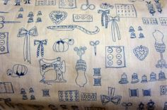 Blue and White Sewing Themed Fabric - Less than a yard