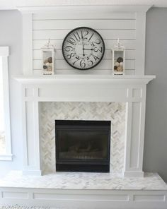 White and Grey Modern Farmhouse Fireplace – Fireplace tile ideas Fireplace Redo, Farmhouse Fireplace, Fireplace Remodel, Living Room With Fireplace, Fireplace Design, My Living Room, Fireplace Mantels, Fireplace Ideas, Mantel Ideas