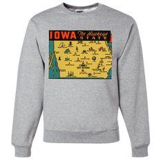 Vintage State Sticker Iowa Crewneck Sweatshirt