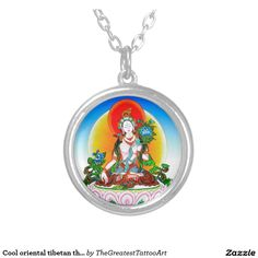 Cool oriental tibetan thangka White Tara tattoo Round Pendant Necklace