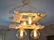 """Aged wood ceiling lamp with edison type bulbs """"two-tier"""", wooden chandelier, edison bulbs, rustic light, lamp Ceiling Fixtures, Ceiling Lamp, Ceiling Lights, Wooden Chandelier, Wood Lamps, Pipe Lighting, Rustic Lighting, Wooden Living Room Furniture, Wooden Ceilings"""