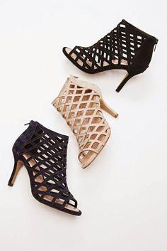 Suede caged mid heels