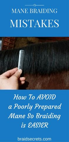 AVOID MANE BRAIDING MISTAKES & SET YOURSELF UP FOR GOOD, FAST BRAIDING. CLICK THROUGH TO LEARN MY PRO TIPS FOR PREPARING YOUR HORSE'S MANE BASED ON THE MANE TYPE.
