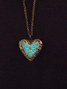 Aqua Blue Glowing Necklace - Blue Heart Glow in the Dark Necklace - Glow Necklace - Gifts For Her - FREE SHIPPING