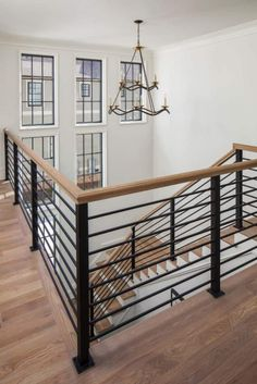 Beautiful English country house in Charlotte with a modern twist Metal Staircase Railing, Indoor Railing, Interior Stair Railing, Stair Railing Design, Home Stairs Design, Open Staircase, Spiral Staircases, Bannister, Stairway Railing Ideas