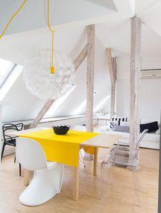 Living in a shoebox | Bright attic apartment by Sabina Królikowska