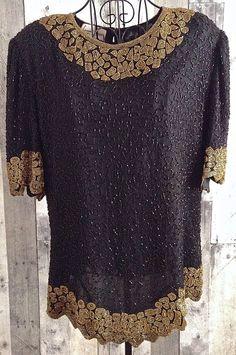 Vintage Laurence Kazar Beaded Sparkle 100% Silk Top Blouse Plus Size 2X #LaurenceKazar #Top