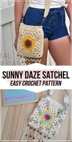 crochet The Sunny Daze Satchel pattern - easy crochet bag pattern for beginners Crochet Purse Patterns, Crochet Tote, Bag Patterns To Sew, Crochet Handbags, Crochet Purses, Cute Crochet, Crochet Stitches, Knit Crochet, Sewing Patterns