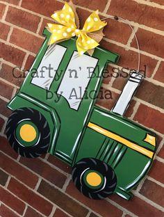 First Birthday Parties, First Birthdays, Superhero Door, Baby Door Hangers, Blonde Wood, Wooden Signs, Pink And Green, Tractors, Color Schemes