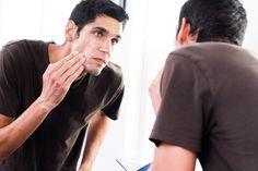 Man rinsing face