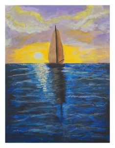 This item is unavailable Ocean Sunset, Sunset Art, Ocean Art, Modern Art Paintings, Your Paintings, Original Paintings, Acrylic Painting Canvas, Canvas Art, Sailboat Decor