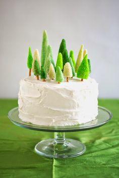 Cake topper natalizio: abeti di marzapane  Le Frufrù