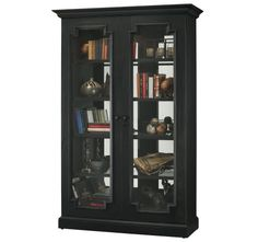Every detail of the Howard Miller Desmond II Curio Cabinet is designed with luxury in mind. Each of the extra-thick glass shelves are adjustable in. Metal Shelves, Glass Shelves, Black Display Cabinet, Display Cabinets, Curio Cabinets, China Cabinets, Howard Miller, Door Displays, Black Furniture