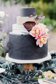 black and white wedding cakes black geometric layer of marble decorated with pink flowers emily reiter via instagram #pinkweddingcakes