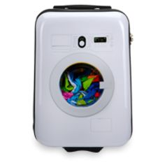 Washing Machine Suitcase :- Light weight locking trolley system with multiple height stops, luxurious interior with mesh lid compartment, packing straps and interior pockets,TSA lock and Japanese quality wheels.