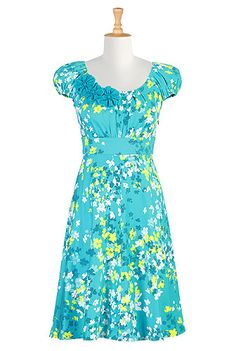 Rosette trimmed blooms dress in turquoise