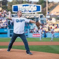 THINK BLUE: #tbt Throwback to the time I threw the opening pitch for the LA @dodgers!  #perfectform #losangeles #la #dodgers #baseball #morganpage by morganpage
