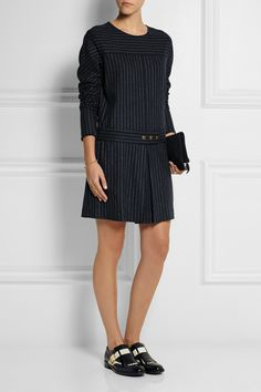 See by Chloé | Pinstriped wool-blend mini dress | NET-A-PORTER.COM