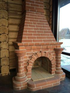 La hermosa chimenea - Decoration Fireplace Garden art ideas Home accessories Fireplace Garden, Brick Fireplace, Fireplace Design, Brick Cladding, Brickwork, Earth Bag Homes, Brick Construction, Condo Bathroom, Dark House