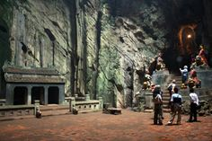At the top of Marble Mountain, an ancient Buddhist temple is located inside a cave