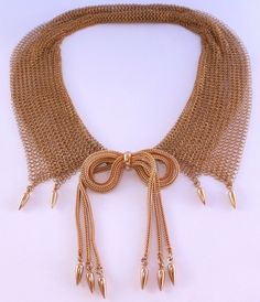 RARE RETRO VINTAGE NAPIER GOLD PLATE CHAINMAIL MESH BOW COLLAR BIB NECKLACE