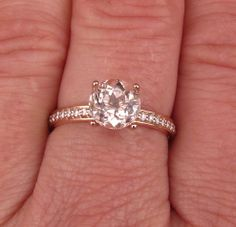 14k Rose Gold Peach Morganite Engagement Ring in Diamond Accented Mounting in White Gold Yellow Gold Platinum Palladium