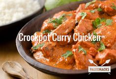 Crockpot Curry Chicken Recipe Main Dishes with skinless chicken breasts, tomato paste, coconut oil, full fat coconut milk, chicken broth, fresh ginger, garlic cloves, green chilies, onions, red bell pepper, garam masala, cumin seed, salt, pepper