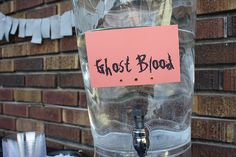 Ghost blood- water for your Halloween party ~ modify this to customized and printed labels on bottled water