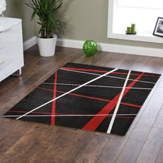Red And Black Rugs Modern Lines Rug 320x230cm Great