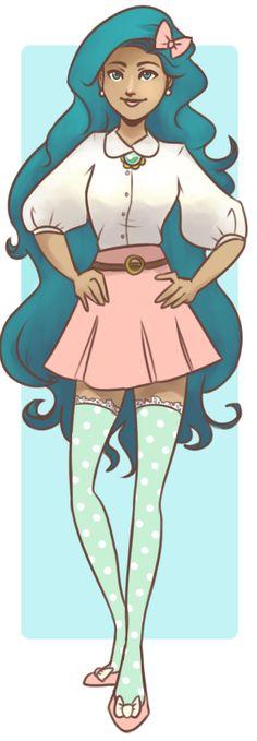 "Fashion Girl #Cartoon / Ragazza alla moda #cartoni - Art by cookiekhaleesi on deviantART,"" Ocean Hair"""