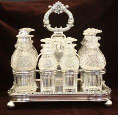Antique Cruet Set | ANTIQUE ENGLISH SHEFFIELD SILVERPLATE & CUT GLASS 7 PIECE CASTOR CRUET ...