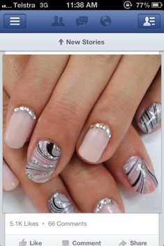 Nail marbling on select nails with diamonties :) cute