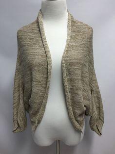 Soft Surroundings Womens Open Knit Sweater Cardigan Metallic Gold Brown Size PS #SoftSurroundings #Cardigan
