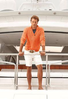 Shop this look on Lookastic:  http://lookastic.com/men/looks/zip-neck-sweater-crew-neck-t-shirt-shorts-belt-watch/11394  — Navy Horizontal Striped Crew-neck T-shirt  — Orange Zip Neck Sweater  — White Canvas Watch  — White Shorts  — Beige Canvas Belt