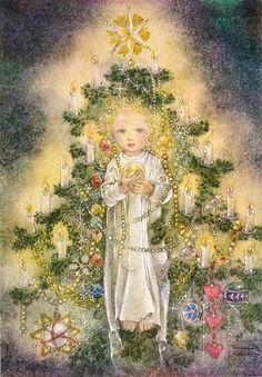 Sulamith Wulfing (German illustrator, ~ Pyramids of Light Old World Christmas, Vintage Christmas Cards, Christmas Angels, Christmas Pictures, Christmas Tree, German Christmas, Photo D Art, Art Et Illustration, Painting & Drawing