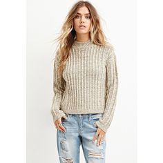 Forever 21 Women's  Boxy Mock Neck Sweater ($23) ❤ liked on Polyvore featuring tops, sweaters, mock neck sweater, white boxy top, long sleeve sweaters, textured sweater and white top