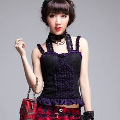 Black Purple Lace Fringe Spaghetti Halter Goth Top Clothing for Women SKU-11409128
