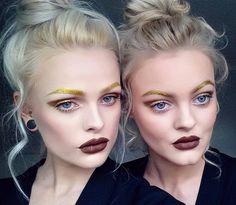 «Gold brows + 'Salem' lips via @miss_lauramay & @anna__brennan.  #limecrime #velvetines»