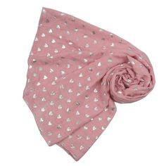 This is a great scarf to see you through any season. It's scattered with small metallic silver hearts throughout and adds a pop of colour to your outfit.  An ideal scarf for all ages, making it a beautiful gift for a friend...or yourself! It looks amazing with a casual outfit and also dresses up well too.  It's super soft, lightweight and large enough to wear as a wrap and also makes a great sarong.  All scarves come wrapped in pretty pink tissue.  Approx. size is 175cm x 80cm. Machine…