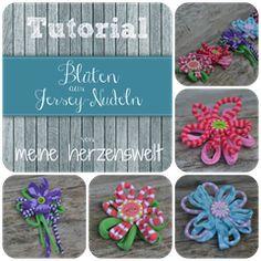 Tutorials - Blumen aus Jerseynudeln/Zpagetti - Irokese auf Schlupfmütze aus Zpagetti- Blumen aus Stoffresten