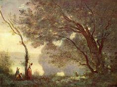 En las obras de Camille Corot la naturaleza ya no se muestra como una fuerza incontrolable por el hombre (como durante el romanticismo) sino todo lo contrario, ella es amable, y se encuentra en perfecta armonía con la vida humana.