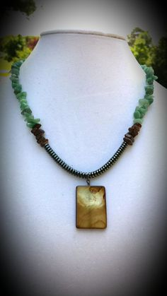 Amazonite chips wooden and hematite beads necklace