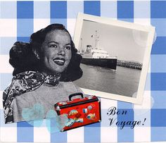 Bon Voyage Retro Card Collage Print Goodbye by RetroRoseCollages, £2.10