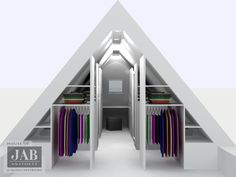 Vind afbeeldingen van moderne Kleedkamer: inloopkast / walk-in-closet onder schuine kap. Ontdek de mooiste foto's & inspiratie en creëer uw droomhuis.
