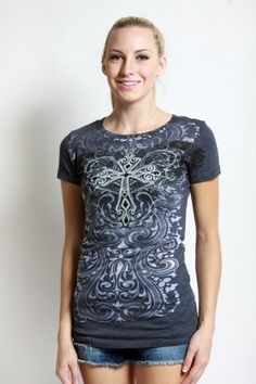 Vocal> T-Shirts> 5578S-Black Short sleeves Top Print and stone details usfashionstreet.com