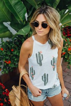 Guys, cacti are trending and I'm not even mad about it! I've been wearing this tank nonstop but it keeps selling out before I can post about it – it's finally back in stock so hurry up and get one! Brokedown Cactus Tank | palms