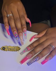 Acrylic Nails Coffin Pink, Long Square Acrylic Nails, Coffin Nails Long, Matte Nails, Stiletto Nails, Drip Nails, Glow Nails, Bling Nails, Swag Nails