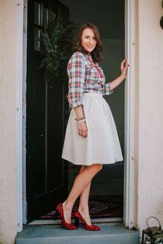 Plaid and full skirt