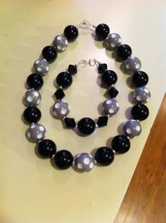 Ladies black and gray necklace and bracelet by TheKYBellesBoutique, $22.49 Donating a Necklace to the FFCS raffle! https://www.etsy.com/shop/TheKYBellesBoutique