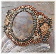 Neptune's Treasure  Bead Embroidered Cuff by DealanDeDesigns, $176.00: